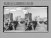 view [View of street traffic with earthquake-damaged buildings in background.] 8263 Photonegative digital asset: [View of street traffic with earthquake-damaged buildings in background.] 8263 Photonegative 1906.