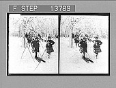 view [Women with sled in snowy woods.] 8865 photonegative digital asset: [Women with sled in snowy woods.] 8865 photonegative 1900.