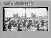 view Selling potatoes in their native land--market before Jesuit church and college, Cuzco. 9270 Photonegative digital asset: Selling potatoes in their native land--market before Jesuit church and college, Cuzco. 9270 Photonegative.