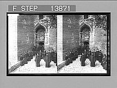 view Pious monks of the Eastern Orthodox Church at door of cavern-monastery, Megaspelaeon. [Active no. 9339 : stereo photonegative, 1905 digital asset number 1