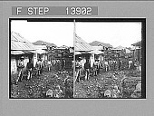 view [Men on rough street and row of homes in Panama.] 9361 photonegative digital asset: [Men on rough street and row of homes in Panama.] 9361 photonegative 1905.
