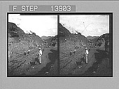 view A busy day at Bas Obispo Cut, pushing the canal through the mountains. 9363 photonegative 1905 digital asset number 1