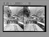 view President Roosevelt and his traveling companions at the Hanging Bridge, Royal Gorge, Colorado. Caption no. 9394 : stereo photonegative digital asset: President Roosevelt and his traveling companions at the Hanging Bridge, Royal Gorge, Colorado. Caption no. 9394 : stereo photonegative, 1905.
