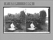 view [Couple, seated on grass, holding hands.] Active no. 9411. Stereo photonegative digital asset: [Couple, seated on grass, holding hands.] Active no. 9411. Stereo photonegative, 1906.