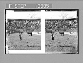 view The favorite sport of Mexico--bullfight and a crowd of spectators on a public holiday. [Active no. 9423 : stereoscopic photonegative,] digital asset: The favorite sport of Mexico--bullfight and a crowd of spectators on a public holiday. [Active no. 9423 : stereoscopic photonegative,] 1900.