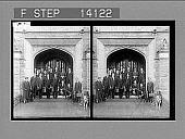 view [Student group posing in entrance to campus building.] 10175 photonegative 1908 digital asset number 1
