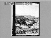 view Mt. Nebo, south from Wady Ayun Musa, showing ancient road that leads to Jordan. 10923 Photonegative digital asset number 1