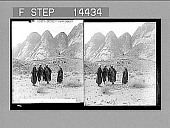 view Hill of the Golden Calf (Jebel Aaron) and its Moslem tower, below Sinai's ridge. [Active no. 11370 : stereo photonegative] digital asset: Hill of the Golden Calf (Jebel Aaron) and its Moslem tower, below Sinai's ridge. [Active no. 11370 : stereo photonegative], 1910.