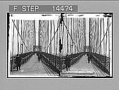 view West down the promenade of Brooklyn Bridge to towering buildings of Manhattan. 11409 Photonegative digital asset: West down the promenade of Brooklyn Bridge to towering buildings of Manhattan. 11409 Photonegative 1901.
