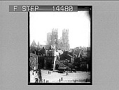 view West facade of famous York Minster and historic Bootham Bar, York. 11413 Photonegative digital asset: West facade of famous York Minster and historic Bootham Bar, York. 11413 Photonegative.
