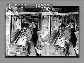 view Weaving the finest of Syrian silk on a primitive loom, Mt. Lebanon district, Syria. [Active no. 11465 : stereo photonegative,] digital asset: Weaving the finest of Syrian silk on a primitive loom, Mt. Lebanon district, Syria. [Active no. 11465 : stereo photonegative,] 1913.