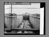 view East chamber, lower locks, from construction trestle toward Panama, Miraflores. 1913 state--the completed canal and canal locks before letting in the water. Active no. 11477 : photonegative digital asset: East chamber, lower locks, from construction trestle toward Panama, Miraflores. 1913 state--the completed canal and canal locks before letting in the water. Active no. 11477 : photonegative, 1913.