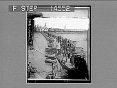 """view Pontoon bridge and old round boats called """"kufas"""" on the Tigris River, at Bagdad. 11485 photonegative digital asset: Pontoon bridge and old round boats called """"kufas"""" on the Tigris River, at Bagdad. 11485 photonegative 1912."""