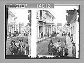 view North along the main business street of tropical Barranquilla. 11508 Photonegative digital asset: North along the main business street of tropical Barranquilla. 11508 Photonegative 1906.