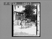view Little girls jumping rope in the garden of Catholic school, Barranquilla [Colombia]. [Active no. 11515 : photonegative,] digital asset: Little girls jumping rope in the garden of Catholic school, Barranquilla [Colombia]. [Active no. 11515 : photonegative,] 1906.