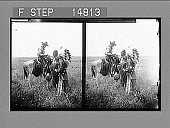 view [Cowboy on horse with two standing American indians. Active no. 13185 : stereo photonegative,] digital asset: [Cowboy on horse with two standing American indians. Active no. 13185 : stereo photonegative,] 1905.