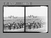 view [Group of ccowboys on horses and line of American indians.] 13187 Photonegative digital asset: [Group of ccowboys on horses and line of American indians.] 13187 Photonegative 1905.