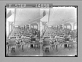 view [Overall of women workers at tables in a factory.] photonegative digital asset: [Overall of women workers at tables in a factory.] photonegative.