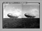 view [Dirigible balloon on ground.] 14427 photonegative digital asset: [Dirigible balloon on ground.] 14427 photonegative.