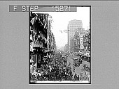 view [Celebrations; view down street with pedestrians and horse-drawn vehicles. Active no. 20420 : non-stereo photonegative.] digital asset: [Celebrations; view down street with pedestrians and horse-drawn vehicles. Active no. 20420 : non-stereo photonegative.]