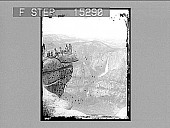 view [Figures on mountain ledge, observing waterfalls. Active no. 20480 : stereo photonegative.] digital asset number 1
