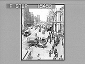 view [City street scene with pedestrians and horse-drawn vehicle. Active no. 20968 : non-stereo photonegative.] digital asset: [City street scene with pedestrians and horse-drawn vehicle. Active no. 20968 : non-stereo photonegative.]