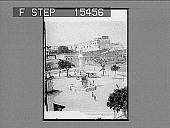 view Columbus Square, and Fortress of San Cristobol, San Juan, Porto Rico. Copyright 1899 by Strohmeyer & Wyman. [label on negative.] [Active no. 20976 : half-stereo photonegative,] 1899 digital asset number 1