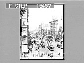 view [City street scene with vehicles. Active no. 20981 : non-stereo photonegative.] digital asset: [City street scene with vehicles. Active no. 20981 : non-stereo photonegative.]