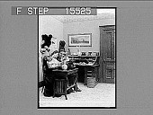 view [Man seated with arm around woman seated at typewriter desk. Active no, 21264 : non-stereo photonegative.] digital asset: [Man seated with arm around woman seated at typewriter desk. Active no, 21264 : non-stereo photonegative.]