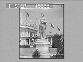 """view """"Omaha Ex."""" [on envelope: statue of goddess and exposition buildings.] [Active no. 21382 : half-stereo photonegative,] 1898 digital asset number 1"""