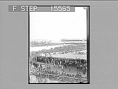 view [High view of crowd at outdoor sports event. Active no. 21438 : non-stereo photonegative.] digital asset: [High view of crowd at outdoor sports event. Active no. 21438 : non-stereo photonegative.]