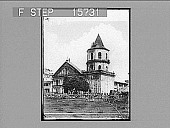 view ----- the Taquig Church, just before they charged the Filipinos--Sentinals...[?] ...the enemy, P.I. Copyright 1899 by Underwood & Underwood. [on negative] [Active no. 22250 : half-stereo photonegative,] 1899 digital asset number 1