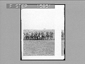 """view ----Regiment---the indomitable Col. Roosevelt and his valliant """"Rough Riders,"""" Montauk Point, L.I. Copyright 1902 by Underwood & Underwood. [on negative] [Active no. 22627 : non-stereo photonegative,] 1902 digital asset number 1"""