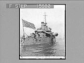 view [Large U.S. Flag on bow of battleship in harbor.] 23182 photonegative digital asset number 1