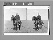 view U.S. Senator Warren mounted for his 60-mile ride with the President, Laramie to Cheyenne. Copyright 1903 by Underwood & Underwood. [On negative] [Active no. 23557 : stereo photonegative,] digital asset: U.S. Senator Warren mounted for his 60-mile ride with the President, Laramie to Cheyenne. Copyright 1903 by Underwood & Underwood. [On negative] [Active no. 23557 : stereo photonegative,] 1903.