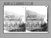 """view """"Can. Pac. Ry. Hotel, and Rocky Mountains, North Bend, British Columbia, Canada. Copyright 1900 by Underwood & Underwood."""" [on negative.] No. 23856 : stereo photonegative, 1896 digital asset number 1"""