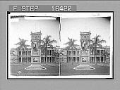 "view ""[Kameh]ameha I and Legislative Palace, Honolulu, Hawaiian Islands. Copyright 1896 by Strohmeyer & Wyman."" (on negative) Caption no. 24232 : glass stereo photonegative digital asset: ""[Kameh]ameha I and Legislative Palace, Honolulu, Hawaiian Islands. Copyright 1896 by Strohmeyer & Wyman."" (on negative) Caption no. 24232 : glass stereo photonegative, 1896."