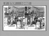 view Thomas Lipton's Present to America's Sons of St. Patrick--beautiful Bog Oak Harp, in the 'Erin's' palatial Saloon. Copyright 1901 by Underwood & Underwood. [On negative]. [Caption 24402 : stereoscopic photonegative,] 1900 digital asset number 1