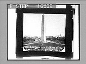 "view [Obelisk in city park. ""Land where my fathers died, Land of the pilgrims' pride"" imprinted on image.] 24771 photonegative digital asset number 1"