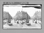 """view """"[Fr?]om the Place Theatre du Francais to the Grand Opera House--Paris. Copyright 1900 by Underwood & Underwood."""" [on negative]. Active no. 24815 : stereo photonegative, 1900 digital asset number 1"""