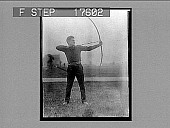 view [Archer aiming bow : Neg. no. 1809A2 photonegative,] digital asset: [Archer aiming bow : Neg. no. 1809A2 photonegative,] 1926.