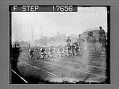 view [Runners kneeling for start of outdoor race.] 1854 photonegative digital asset: [Runners kneeling for start of outdoor race.] 1854 photonegative 1926.