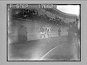 view [Runners on track in stadium with part of crowd showing.] 1861 photonegative digital asset: [Runners on track in stadium with part of crowd showing.] 1861 photonegative.