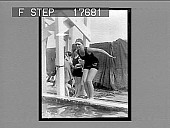 view [Ruth Morgan, swimmer, prepares to enter outdoor competition.] Active no. 1884. Photonegative digital asset: [Ruth Morgan, swimmer, prepares to enter outdoor competition.] Active no. 1884. Photonegative, 1926.