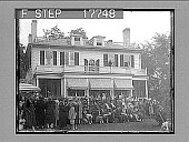view [Crowd posing in front of large home.] 1946 photonegative digital asset: [Crowd posing in front of large home.] 1946 photonegative.
