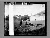 view Harvard Football (1927 team) [Football player in kneeling stance]. [photonegative] digital asset: Harvard Football (1927 team) [Football player in kneeling stance]. [photonegative].