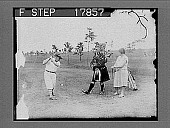 view Piping herdsman and golf pro uses toe as tee, while playing tuneful strains too. [photonegative] digital asset: Piping herdsman and golf pro uses toe as tee, while playing tuneful strains too. [photonegative], 7/3/1926.