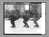 view [Three ice skaters racing outdoors.] 2467 photonegative digital asset: [Three ice skaters racing outdoors.] 2467 photonegative 1927