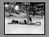 view [Model on toboggan outdoors on snow.] 1235 photonegative digital asset: [Model on toboggan outdoors on snow.] 1235 photonegative 1926.