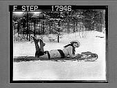 view [Model on toboggan outdoors on snow.] 1236 photonegative digital asset: [Model on toboggan outdoors on snow.] 1236 photonegative 1926.